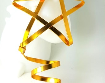 Mini Golden Star Tree Topper - small classic metal handmade tree topper - Christmas star - golden star decoration tree star -1212T