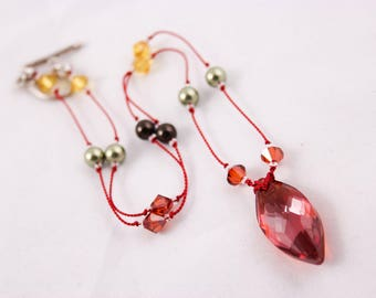 Red Magma Crystal Necklace, Swarovski and Silk Station Necklace, Cats Eye Pendant