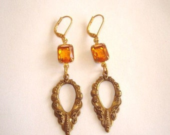 Topaz Glass Stones Gold Tone Repousse Dangle  Earrings