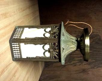 Art Deco Lantern, Flush mount Lantern, Vintage Lighting Caramel Glass Lantern