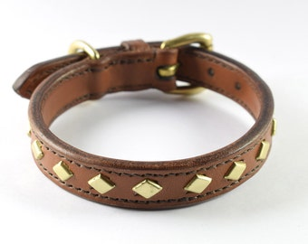 Studded Leather Dog Collar with Diamond Brass Studs - size S