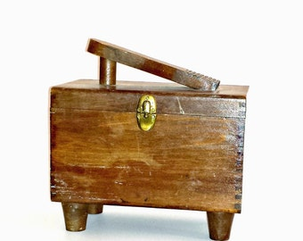 Vintage Wooden Shoe Shine Box & Contents / Dovetail Wood Shoe Shine Box with Polish and More