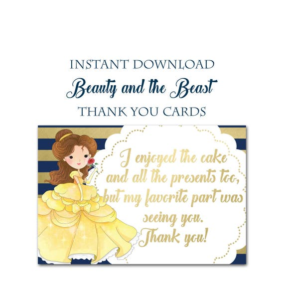 Beauty And The Beast Party Thank You Postcards, Instant