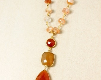 Gold Orange Carnelian & Copper Rutile Quartz Necklace - Peach Sunstone Chain - Layering Necklace