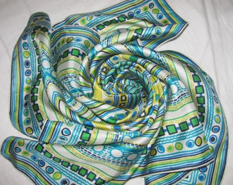 Vintage Square Silk Scarf - White with Blue, Yellow, Green Geometric Pattern - Concentretic Squares, Dots, Stripes