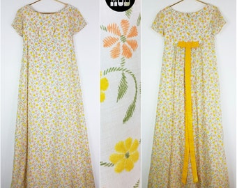 Amazing Vintage 60s Yellow & Orange Flocked Fuzzy Floral Long Party Dress with Velvet Ribbon! Beautiful!