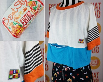 DEADSTOCK Vintage 90s New Wave Orange, Blue, Black & White Geometric Colorblock T-Shirt with Zipper Pocket!