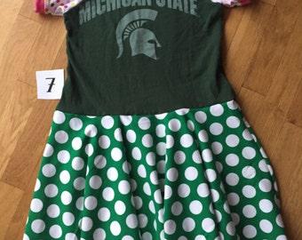 Upcycled MSU Michigan State University tshirt dress size 7 raglan sleeves striped dress recycled polka dot