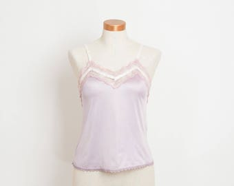 Vintage Lace Camisole Top - Light Purple and Pink Lingerie Cami Tank Top - Pastel Two Tone Slip Top - S