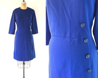 Vintage 1960s Mod Navy Blue Scooter Dress Asymmetrical Buttons Space Age L