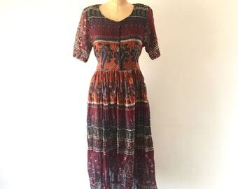 Vintage Indian Cotton Floral Paisley Print Midi Dress 1980s Maroon Sheer Gauze Bohemian Summer Dress M