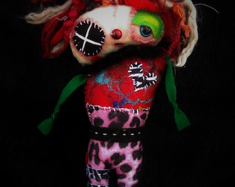 Red Locks- a Happy Whimiscal Stuffie Stuffed Creature Art Doll Ratty Tatty Monster