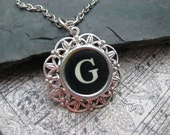 Typewriter Key Jewelry Letter G Charm Necklace