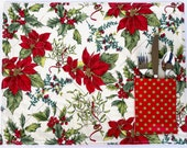 4 Christmas Quilted Placemats, Holiday Table Decor, Christmas Present, Hostess Gift, Poinsettias : Set of 4, reversible