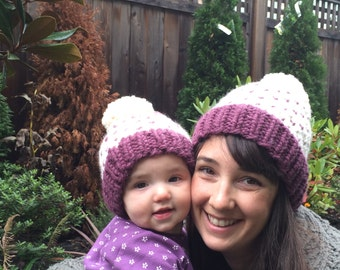Fair Isle Winter Hat, Child Knit Hat, Toddler Pompom Hat, Adult Winter Hat, Mom and Me Hats, Newborn Winter Hat, Chunky Wool Hat