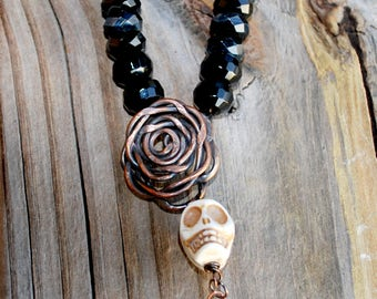 Skull Roses Necklace Copper Halloween Dia de Los Muertos Day of the Dead Black Crystal and Copper Beads Victorian Sugar Skull Gothic Biker
