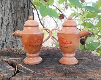 Souvenir Salt And Pepper Shakers Wilkes Barre, PA Mid Century Vintage Wood Teapots Coffee Pots Japan