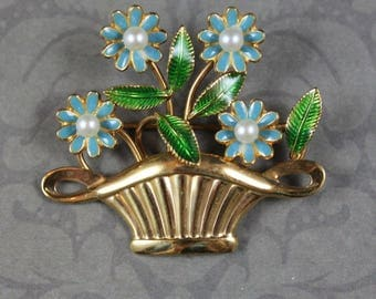 Vintage Blue and Green Enamel Pearl 12K Gold Fill Flower Basket Brooch
