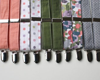 Little and Big Guy SUSPENDERS - Spring Easter - Coral Blue Green Collection (Newborn-Adult) - Baby Boy Toddler Teen Man
