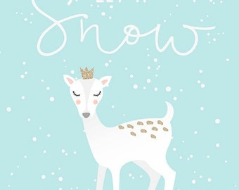 Let it Snow Print - Holiday Wall Art, Little Girl's Room, Christmas Print, Deer Print, Retro Christmas Art, Christmas Wall Decor