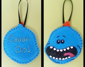 Handsewn Mr. Meeseeks ornament, Rick and Morty magnet, felt pin, christmas ornament