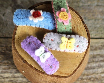 hand-stitched wool felt hair clip: flowers and butterflies by Kata Golda