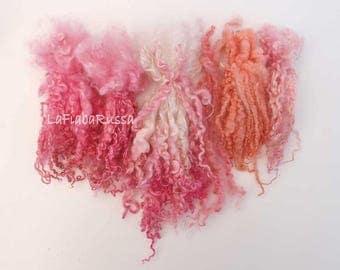 wensleydale BFL pink mix long wool locks for Blythe Doll Hair, BJD, Art Dolls, waldorf doll, spinning and felt