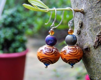 Hanging Lantern Mood Earrings - Color-Changing Mirage Mood Beads, Titanium Druzy Agates, Swarovski Crystals & Argentium French Ear Wires