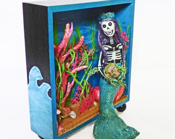 Mermaid Shadow Box Art - Skeleton Mermaid Diorama - OOAK Art Doll - Folk Art Clay Mermaid - Art Gifts