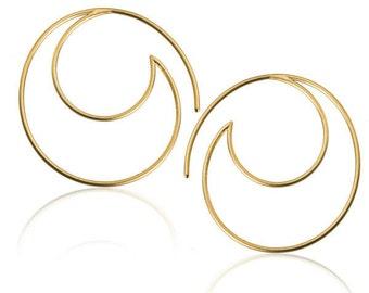 24K Gold Plated Wave Frame Hook Earrings, Half Moon earrings, Gold Earrings, Fine jewellery, Boho earrings, Hoop earrings, Gold hoops