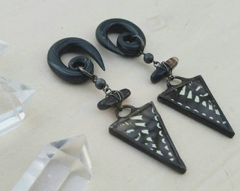 Dark Nature Dagger Plugs / Gauges / Real Papilio Machaon Wings / Swallowtail / Plugs / Quartz Crystals / OOAK