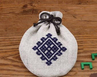 Japanese Kogin Kinchaku Bag Kit, Modern Sashiko Embroidery DIY Kit, Easy Sashiko Kit, Linen Embroidered Pouch Kit, Chic Small Purse, EK243