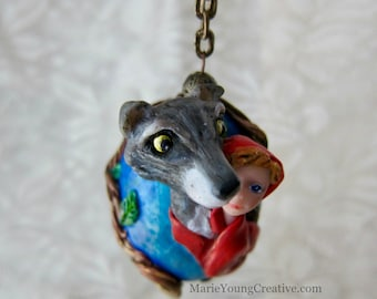 Red Riding Hood and Wolf Grimms Fairytale OOAK Fantasy Folk Art Duck Egg Ornament