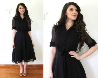 1970s does 1950s Dress / Vintage Sheer Black Full Skirt Shirtwaist Dress