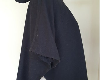 Navy Blue Thin Wool Vintage Handmade Cape with Snaps & Hood