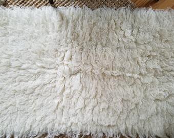 Small Vintage Flokoti Wool Rug
