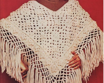 Vintage Crochet Pattern - Fringed Poncho PDF download