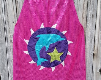 Dolphin Adult Length Cape in Magenta Pink or Silver Sequin with Purple or Blue Faux Velvet Lining