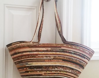 Coiled Fabric Wrapped Rope Clothesline Market Bag Tote Brown by PrairieThreads