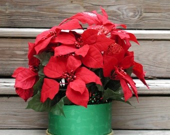 Christmas Poinsettias, Floral Arrangement, Holiday Centerpiece, Red and Green Floral, Artificial Plants, Christmas Gift Flowers