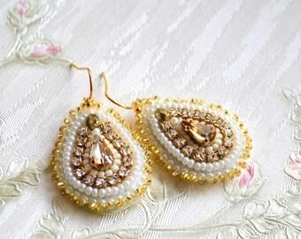 Bridal earrings Golden earrings Swarovski jewelry Golden gypsy earrings beaded jewelry ooak seed bead embroidery Wedding jewelry