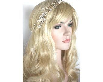 bridal Crystal rhinestone pearl headband in silver or gold finish