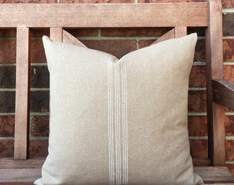 Grain Sack Pillow Cover White Stripe