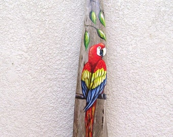 Red McCaw Parrot Painted on Palm Seed Pod Frond Hand Painted