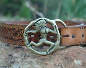 1970s Virgo Belt... Chunky Novelty Buckle and Hand Tooled Leather