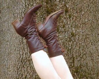Size 9/40... Brown Leather Lace Up Ankle Boots... Boho Prairie Boots... Victorian Revival