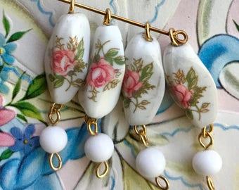 4 Shabby Chic Connectors,Vintage Rose connectors,Vintage Broken Necklace,White glass Connectors,Drops Dangles Beads, Pink Rose #984B