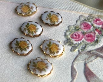 Vintage Limoges Cabochons, Yellow Rose cabochons,Vintage cabochons with settings, Lace Border, Oval Settings, Brass Settings,#1033C