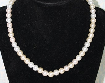 Classic White Pearl Necklace, Glass Pearls