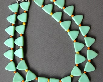 Vintage Mint Glass Trade Bead Necklace Soft Matte Green Triangles with Orange and Yellow Seed Beads Colorful Ethnic African Jewelry